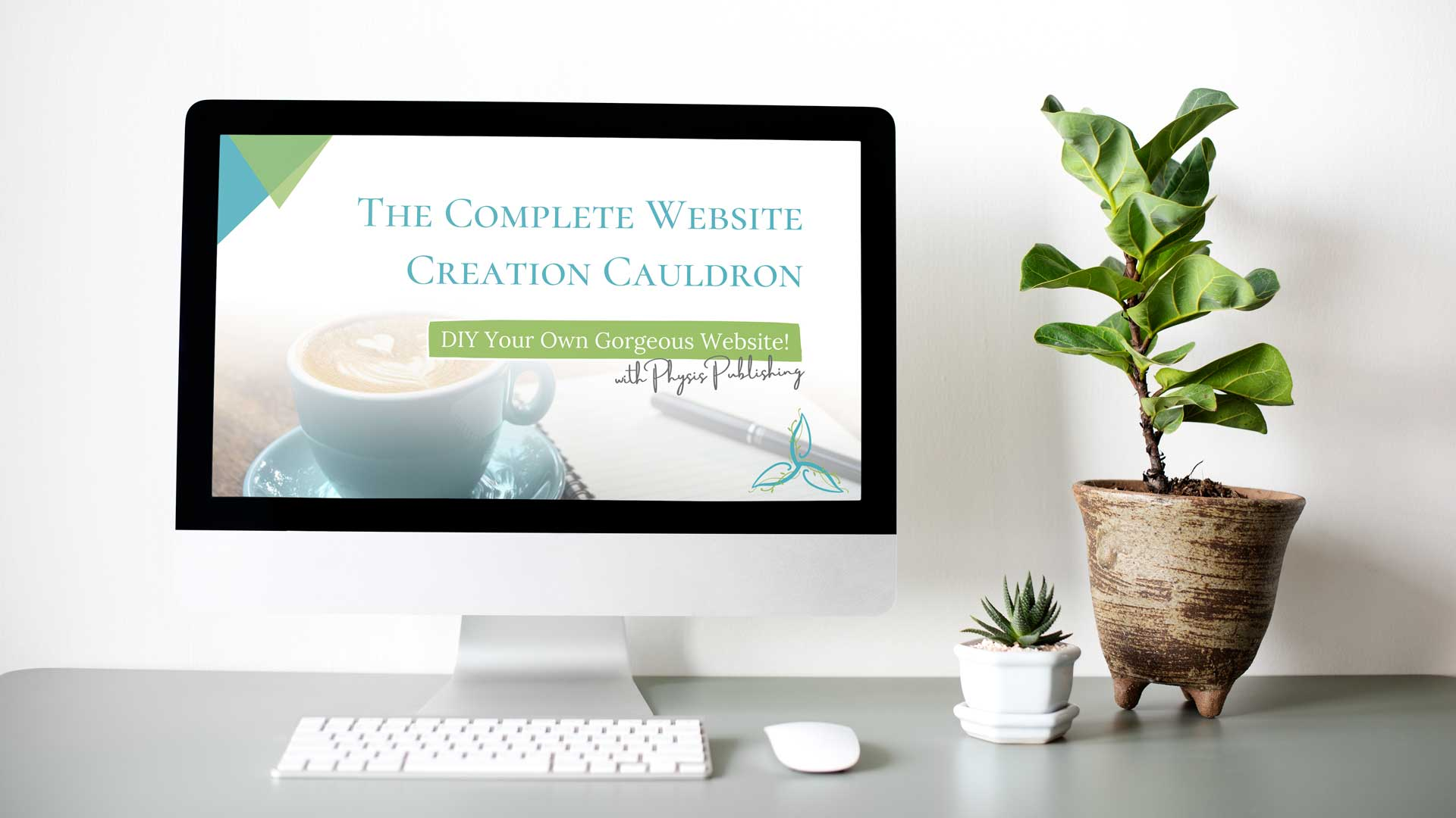 Image of desktop computer with plants | Physis Publishing